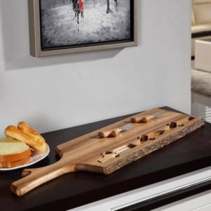 Acacia Wood with Bark Cheese Tray with 3-Utensils