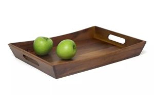 Lipper Acacia Wood Decorative Serving Food Curved Tray, Brown