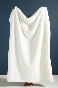 2.Sophie White Faux Fur Throw Blanket