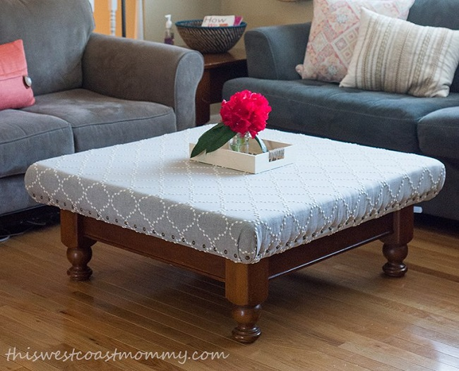 Upcycled Coffee Table into Ottoman After Photo