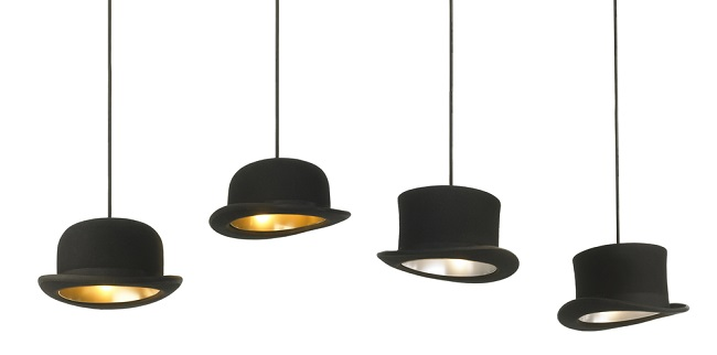 Jeeves and Wooster Bowler Top Hat Pendant Lights by Jake Phipps