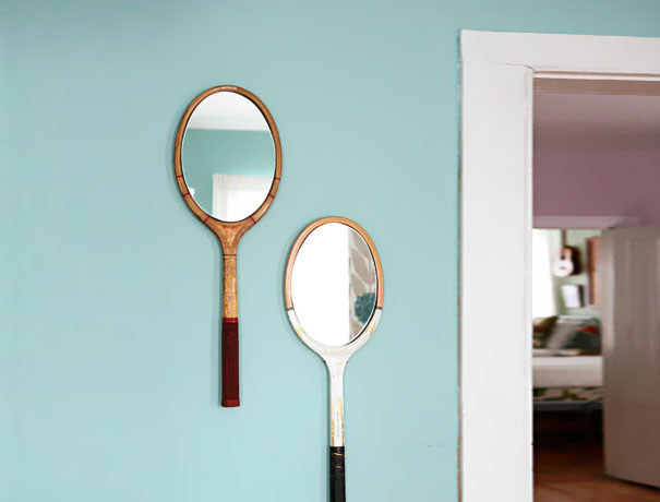 Upcycled Mirrored Old Tennis Racquets