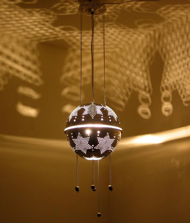 Hanging Upcycled Colander Light Fixture