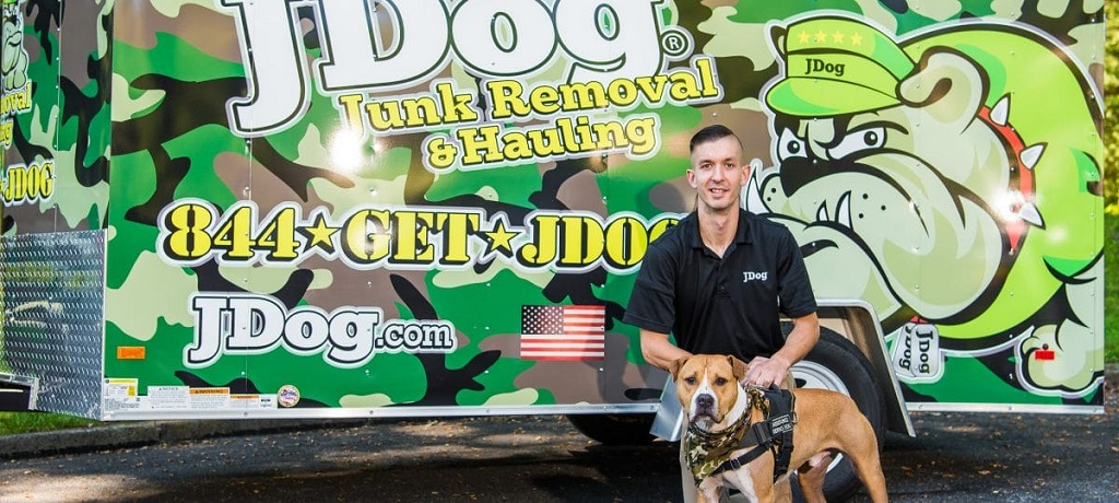 JDog Junk Removal Veteran with Assistant Dog