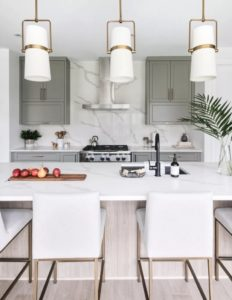 Modern White Kitchen with Gray Cabinets and White Counters