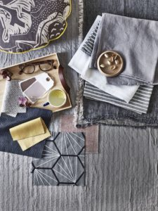 Gray Design Moodboard with Fabric