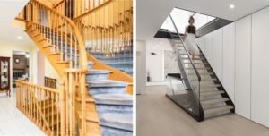 Staircase Before After Old to Modern Photo