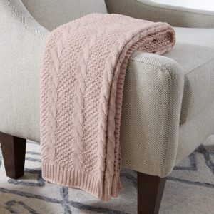 Amazon Brand – Stone & Beam Transitional Chunky Cable Knit Throw Blanket 100% Cotton, Blush