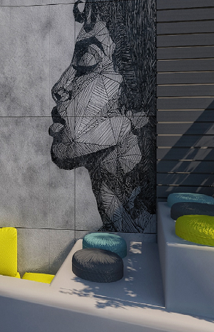 Retaining Wall Mural Woman's Face