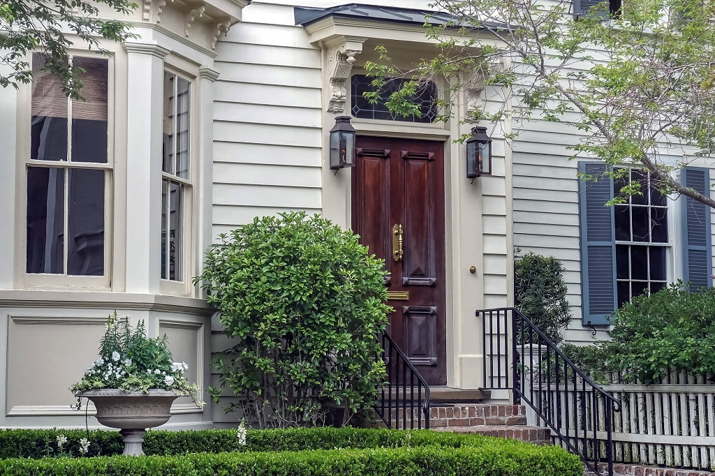 Traditional Colonial New England Home Front Door