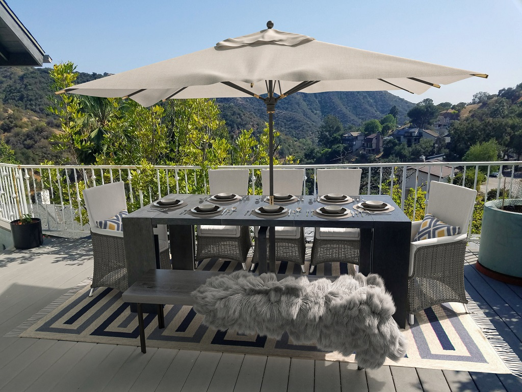 Transformer Table Siberian Birch Dining Seating for 8 Outdoor Deck