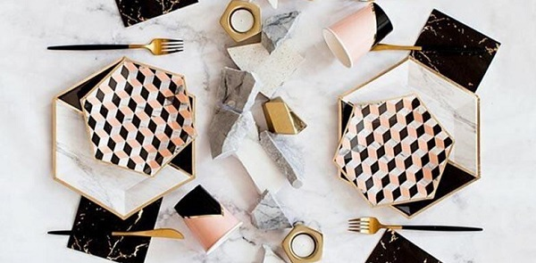Smarty Had A Party Elegant Black Coral Pink Vanity Louis Cube Disposable Paper Dessert Plates
