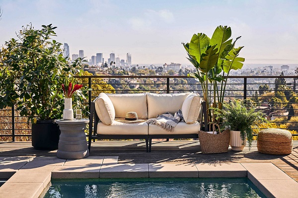 Outer Aluminum Outdoor Loveseat with view of Los Angeles